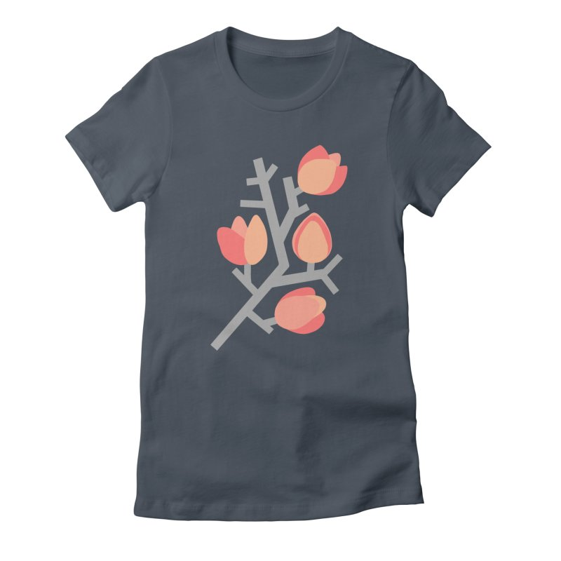 Coral Floral with Green Background Women's T-Shirt by Abroadland Art