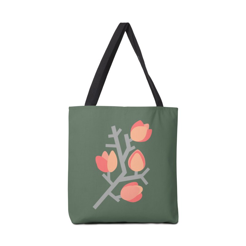 Coral Floral with Green Background Accessories Bag by Abroadland Art
