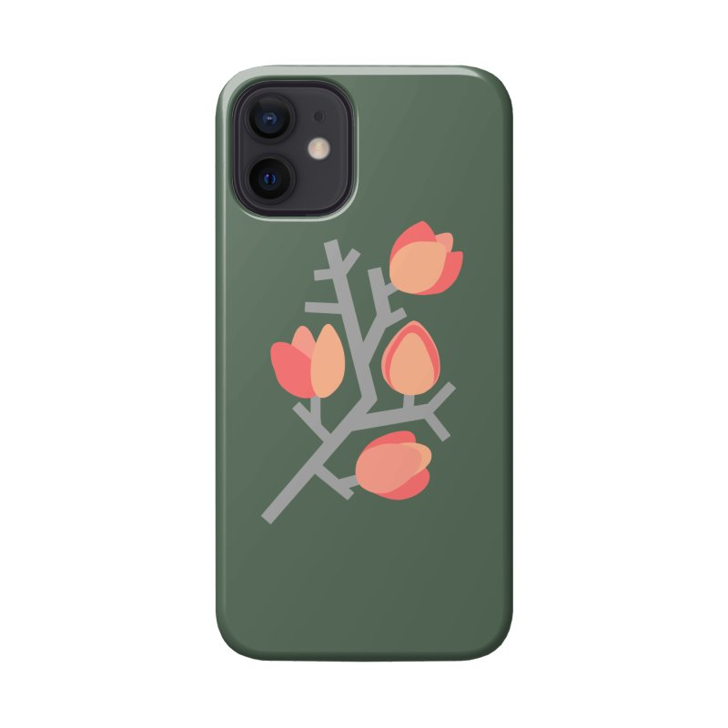 Coral Floral with Green Background Accessories Phone Case by Abroadland Art