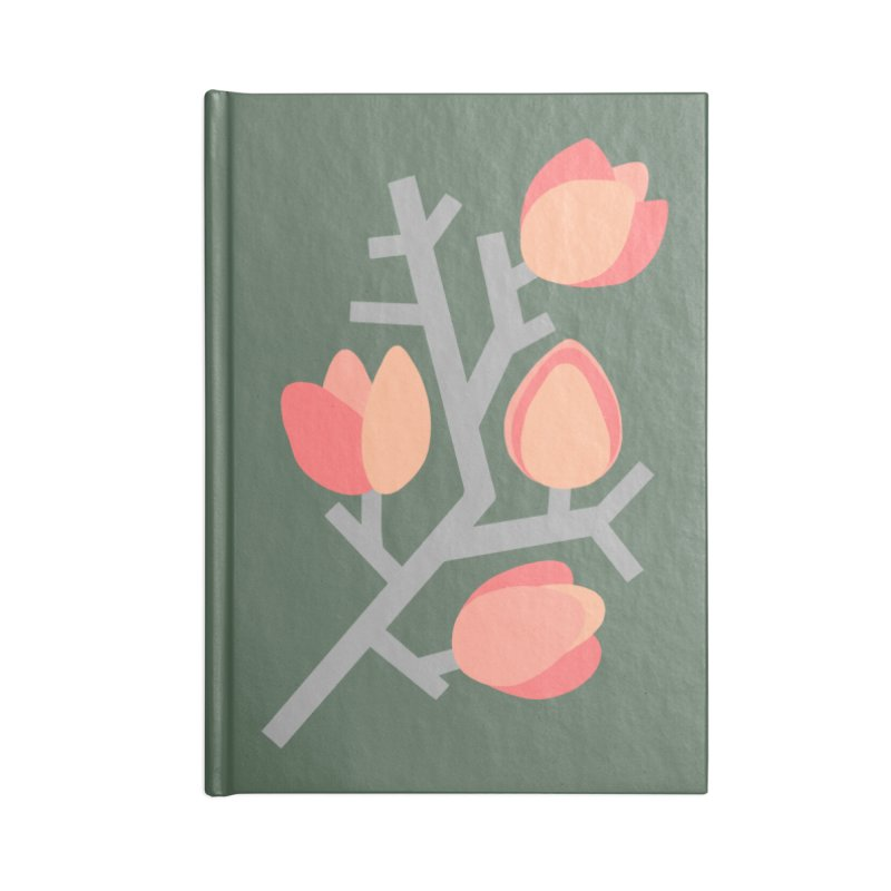 Coral Floral with Green Background Accessories Notebook by Abroadland Art