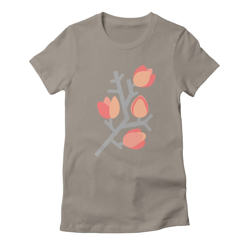 Coral Floral with Gray Background Women's T-Shirt by Abroadland Art