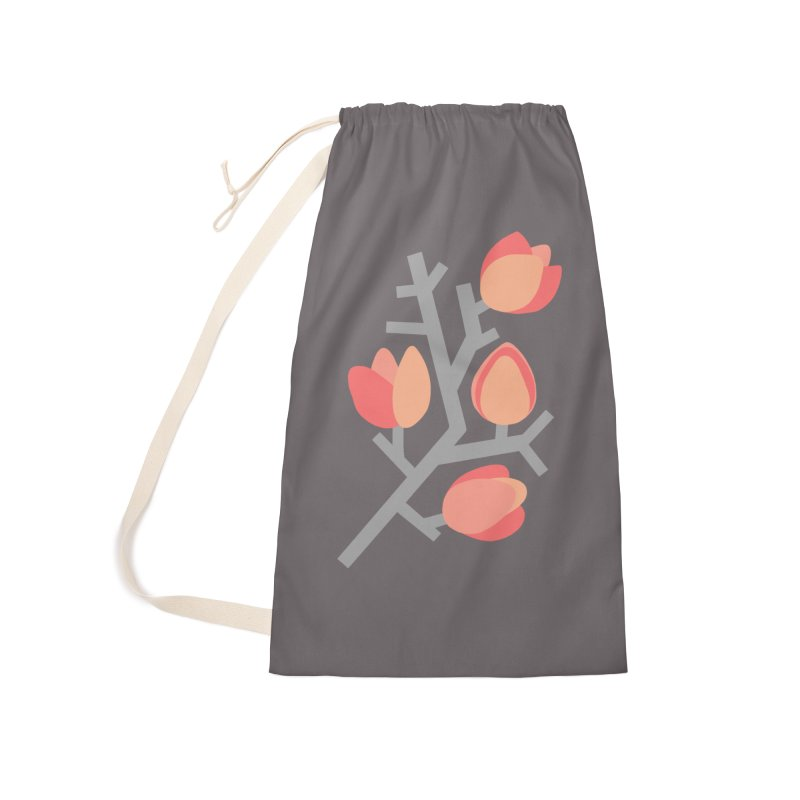 Coral Floral with Gray Background Accessories Bag by Abroadland Art