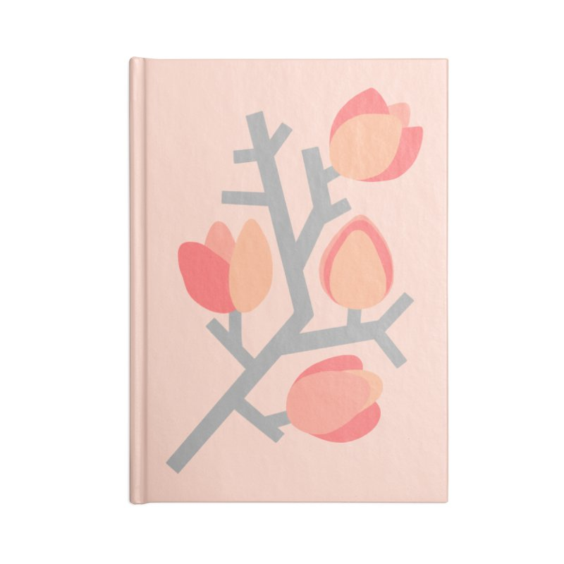 Coral Floral with Light Pink Background Accessories Notebook by Abroadland Art