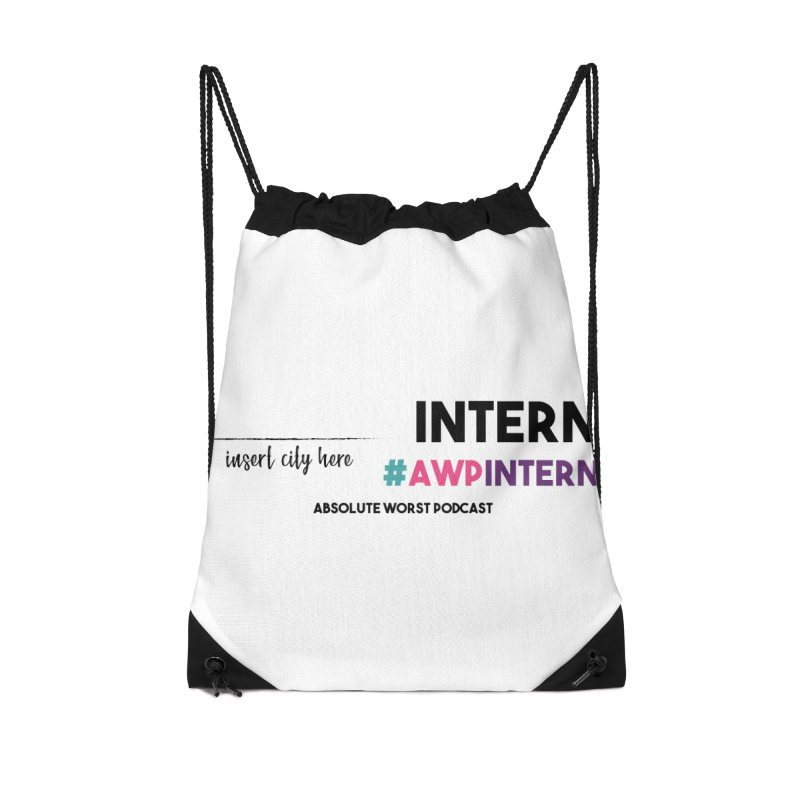 AWP Intern Accessories Drawstring Bag Bag by Absolute Worst Podcast
