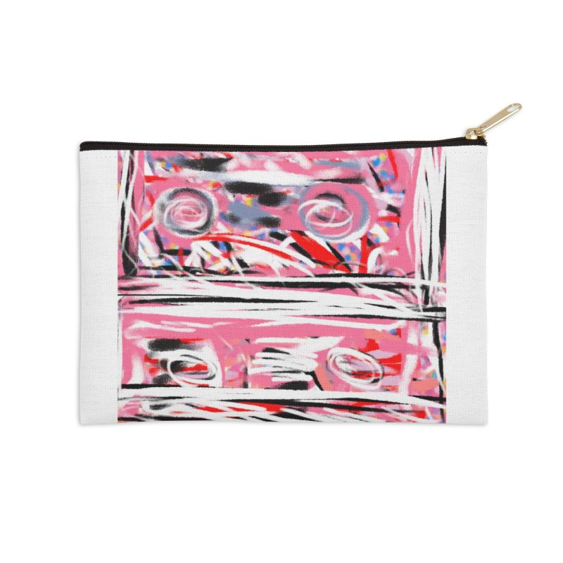 Pink Mix Tapes Accessories Zip Pouch by Abstract Bag Company