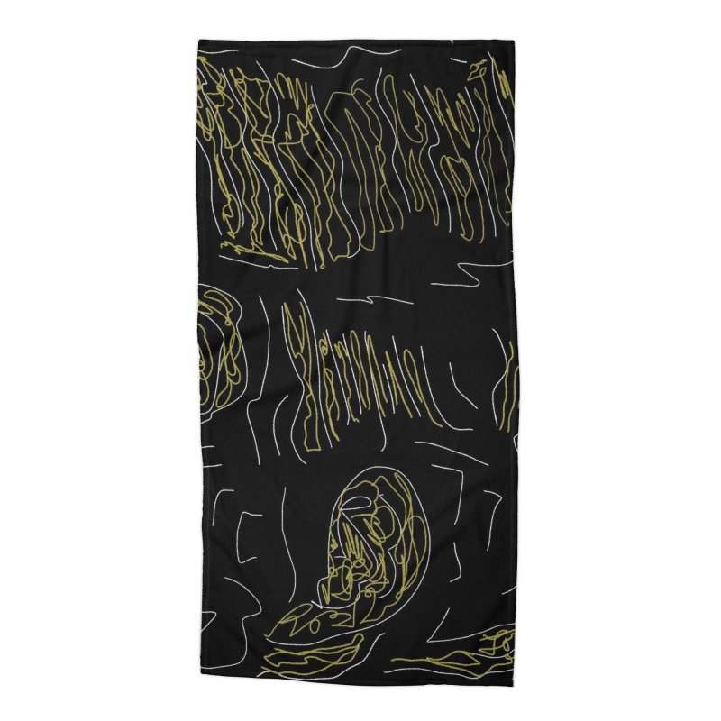 Yellow and Black Accessories Beach Towel by Abstract Bag Company