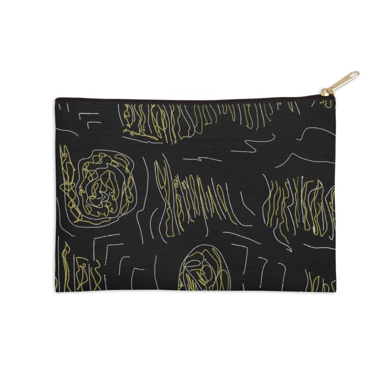Yellow and Black Accessories Zip Pouch by Abstract Bag Company