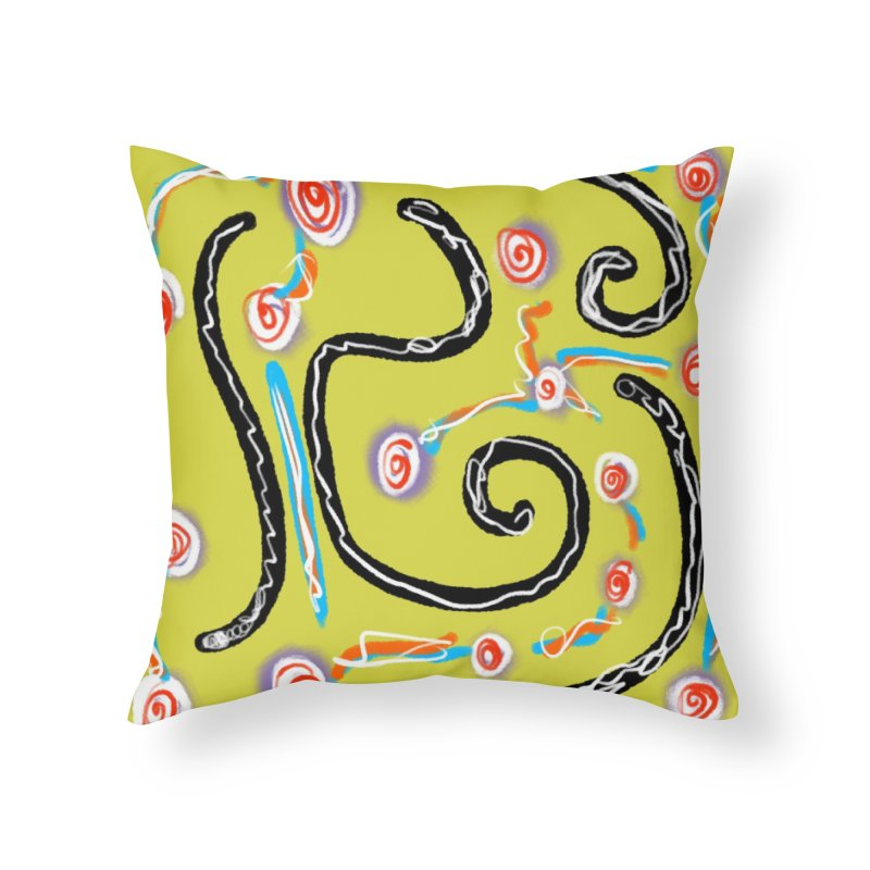 Tape Worms and Fireworks Home Throw Pillow by Abstract Bag Company