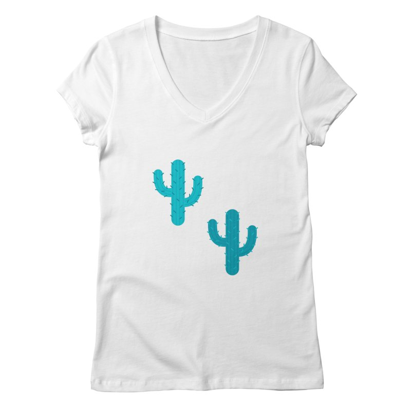 Cactuses Pattern Women's Regular V-Neck by abstractocreate's Artist Shop
