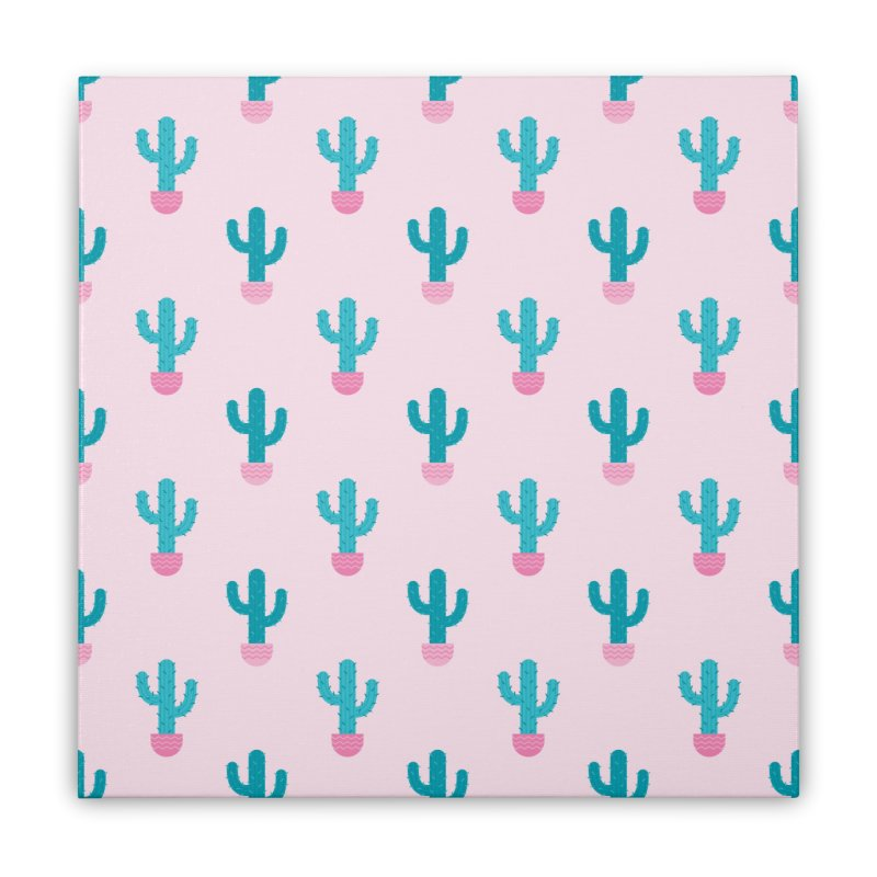 Succulent Cactus Pattern Home Stretched Canvas by abstractocreate's Artist Shop
