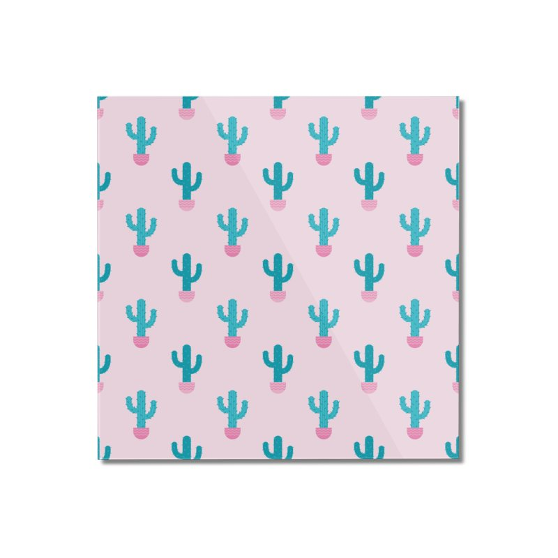 Succulent Cactus Pattern Home Mounted Acrylic Print by abstractocreate's Artist Shop