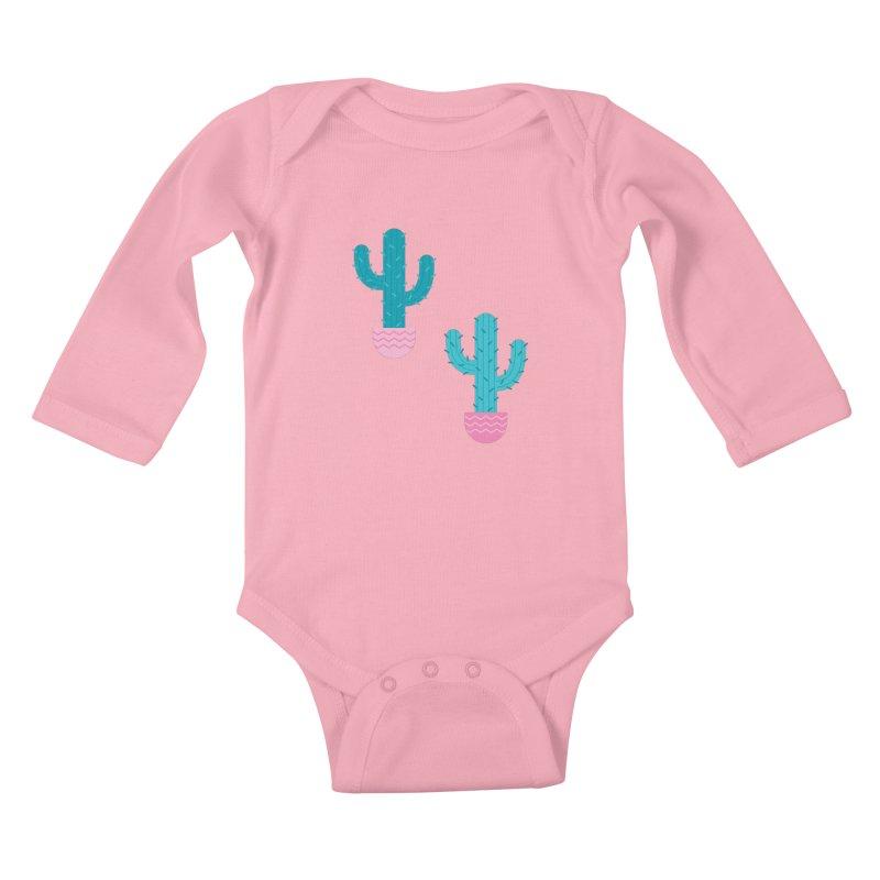 Succulent Cactus Pattern Kids Baby Longsleeve Bodysuit by abstractocreate's Artist Shop
