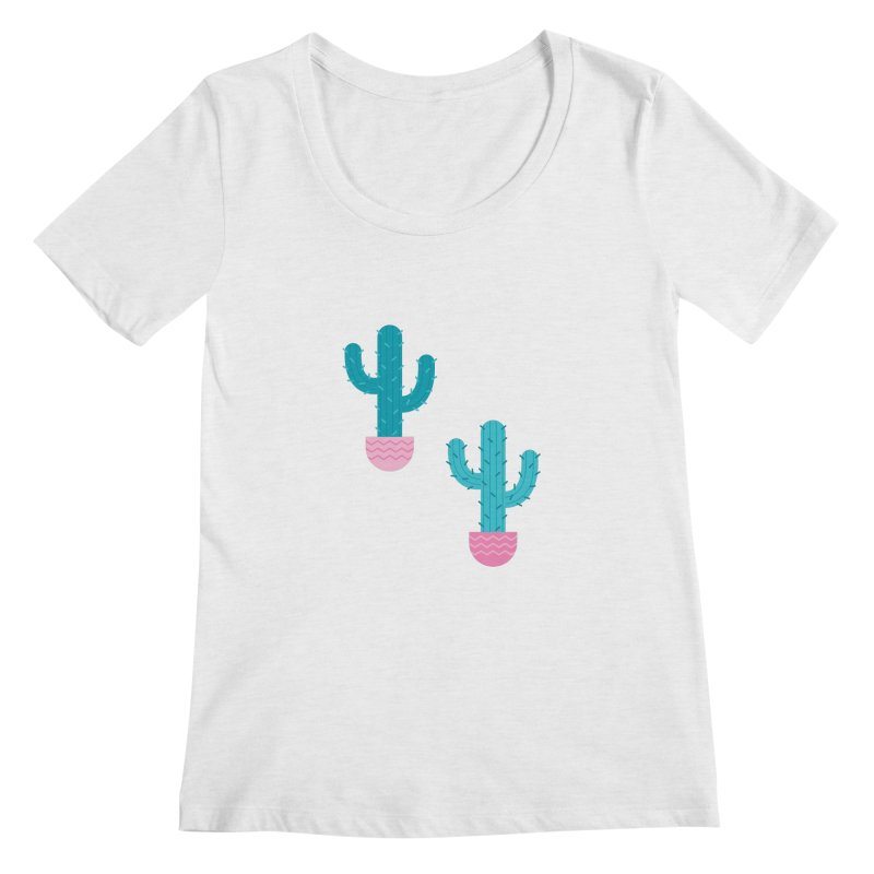 Succulent Cactus Pattern Women's Regular Scoop Neck by abstractocreate's Artist Shop