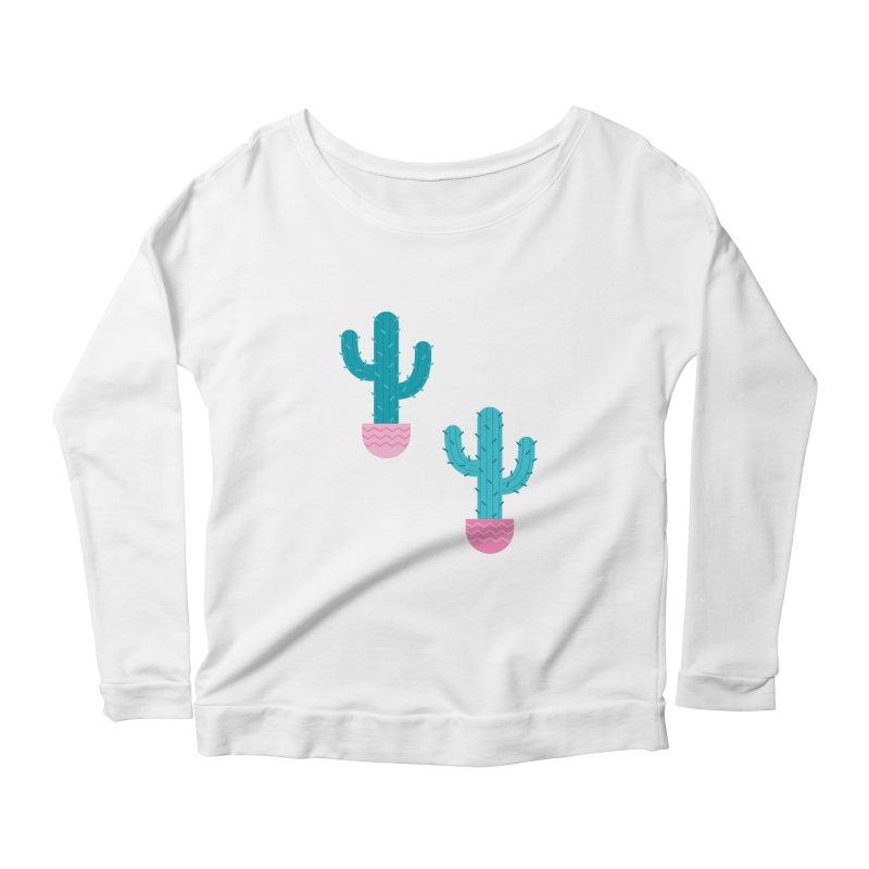 Succulent Cactus Pattern Women's Scoop Neck Longsleeve T-Shirt by abstractocreate's Artist Shop