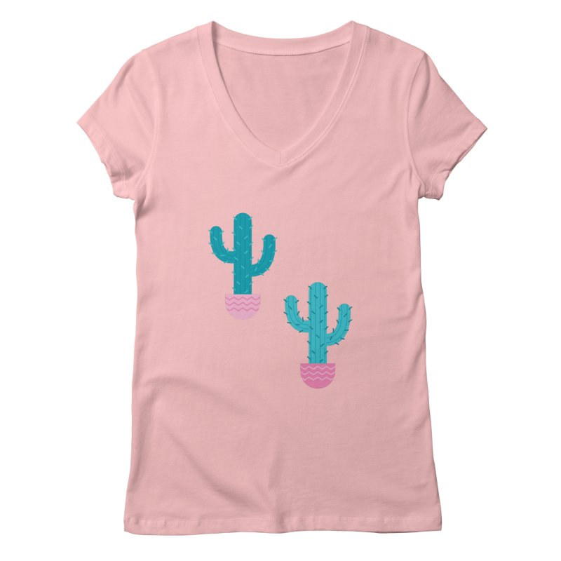 Succulent Cactus Pattern Women's V-Neck by abstractocreate's Artist Shop