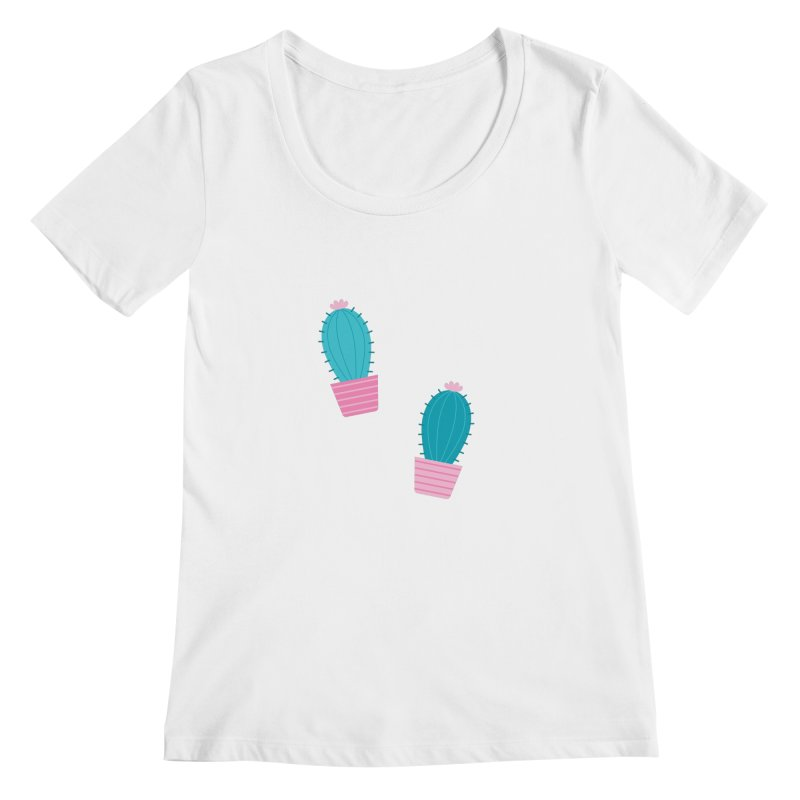 Succulent Cacti Plant Pattern Women's Regular Scoop Neck by abstractocreate's Artist Shop
