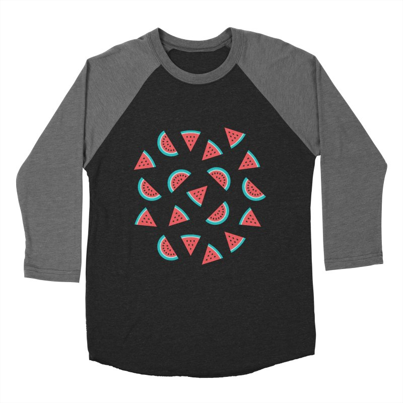 Watermelon Fruit Pattern Men's Baseball Triblend Longsleeve T-Shirt by abstractocreate's Artist Shop