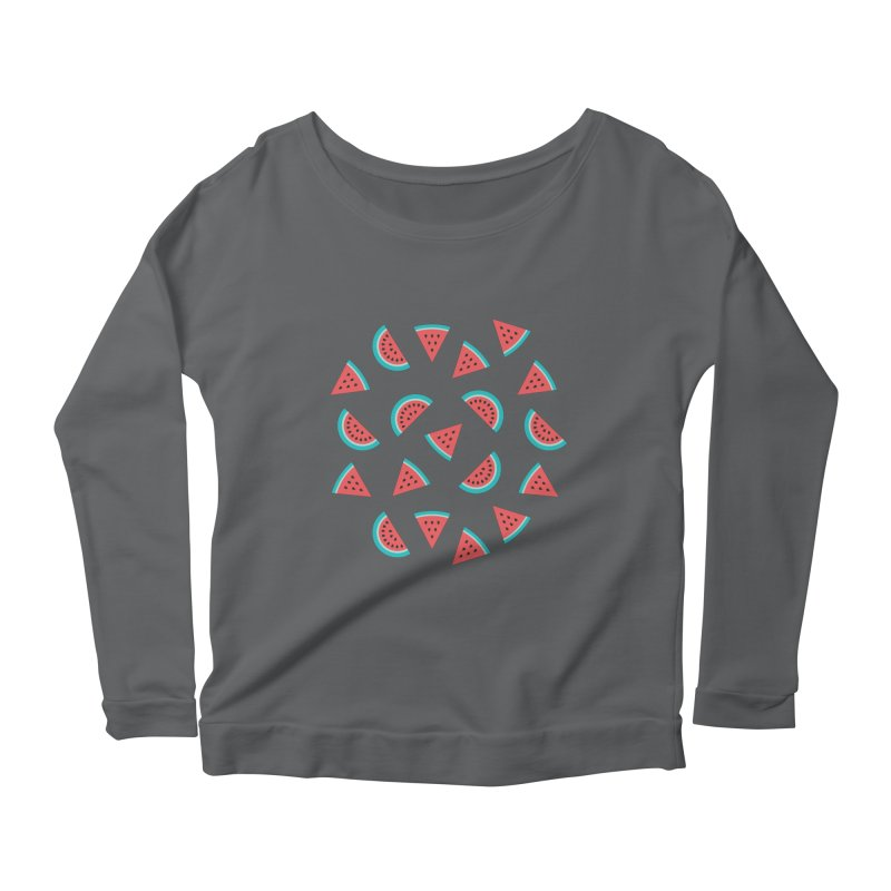 Watermelon Fruit Pattern Women's Scoop Neck Longsleeve T-Shirt by abstractocreate's Artist Shop