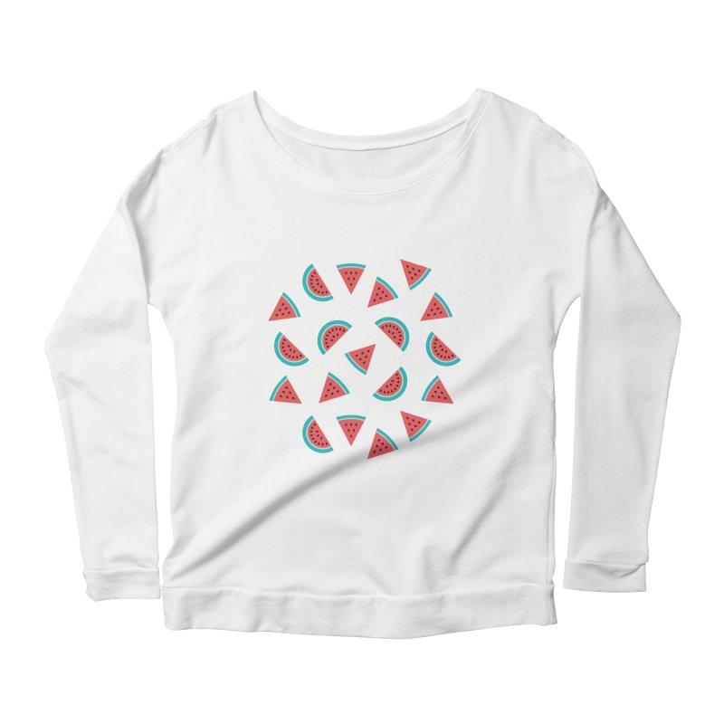 Watermelon Fruit Pattern Women's Scoop Neck Longsleeve T-Shirt by abstractocreate's Artist Shop