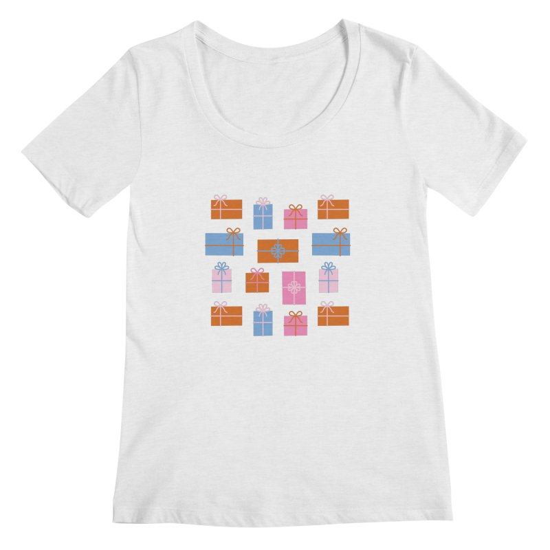 Gift Box Pattern Women's Regular Scoop Neck by abstractocreate's Artist Shop