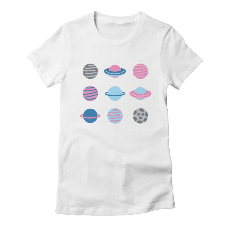 Universe & Planets Pattern Women's Fitted T-Shirt by abstractocreate's Artist Shop