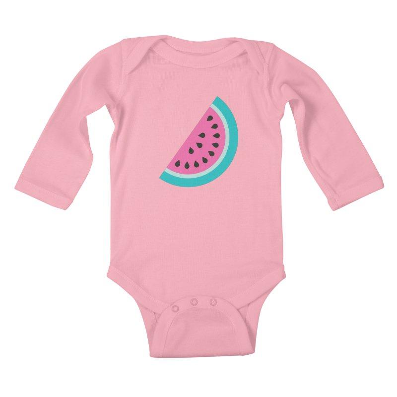 Summer Watermelon Pattern Kids Baby Longsleeve Bodysuit by abstractocreate's Artist Shop
