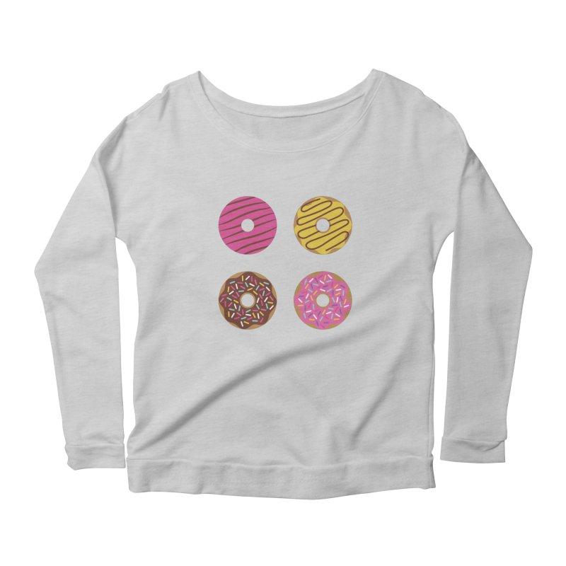 Sweet Donuts Pattern Women's Scoop Neck Longsleeve T-Shirt by abstractocreate's Artist Shop
