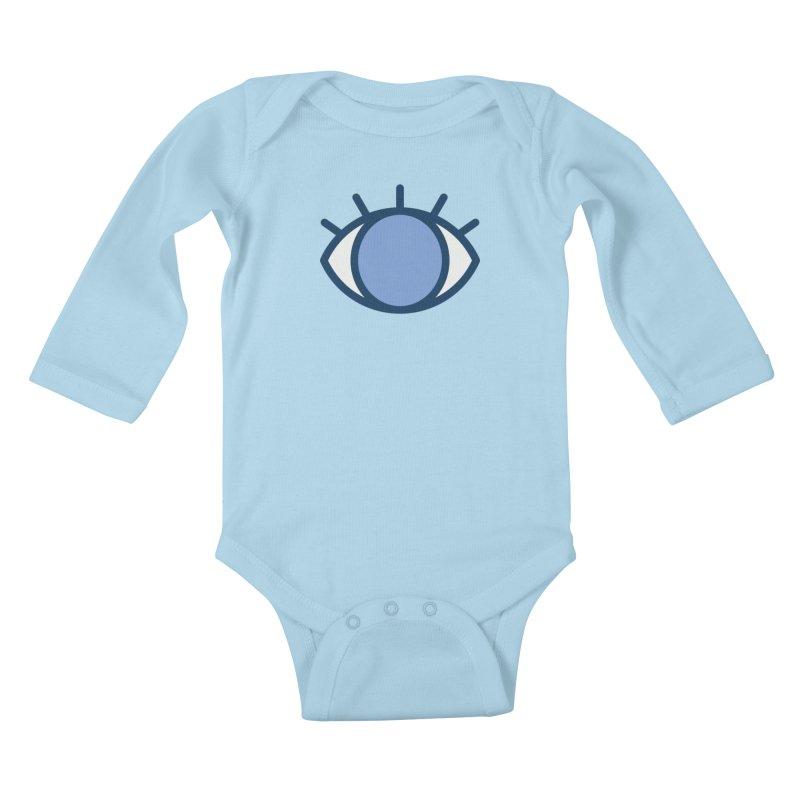 Blue Eyes Pattern Kids Baby Longsleeve Bodysuit by abstractocreate's Artist Shop