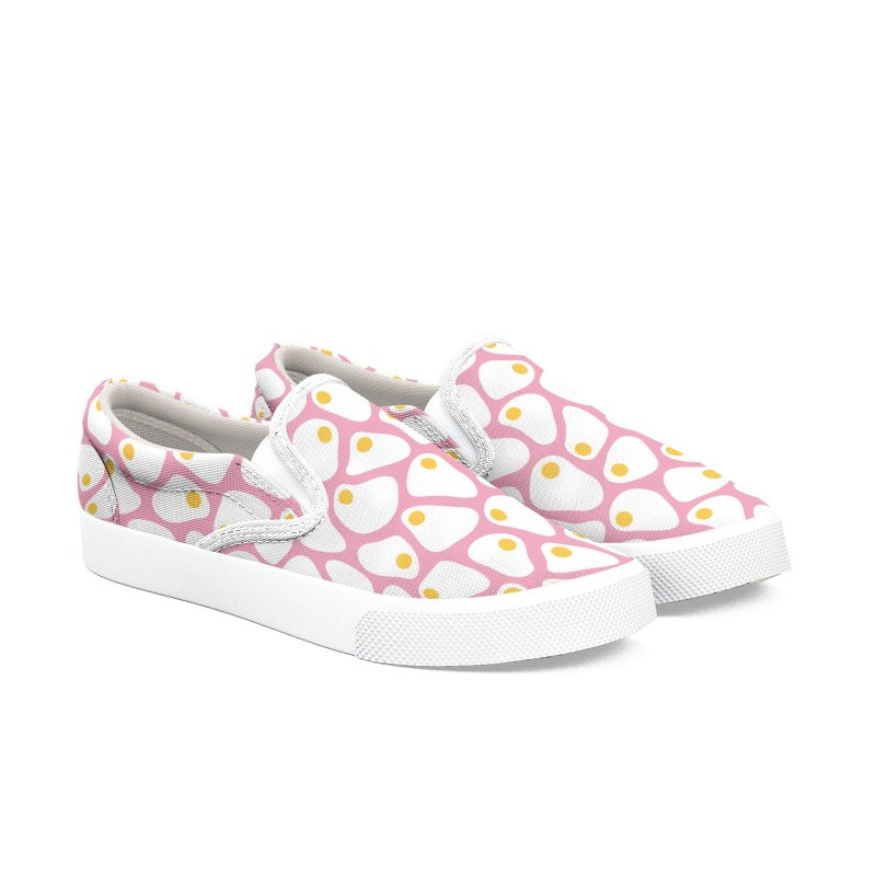 Fried Egg Pattern Women's Slip-On Shoes by abstractocreate's Artist Shop