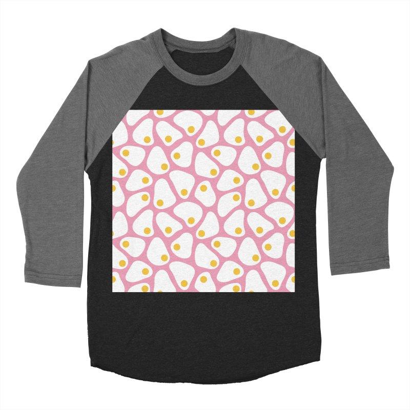 Fried Egg Pattern Men's Baseball Triblend Longsleeve T-Shirt by abstractocreate's Artist Shop