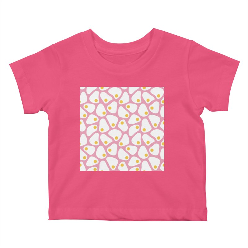 Fried Egg Pattern Kids Baby T-Shirt by abstractocreate's Artist Shop