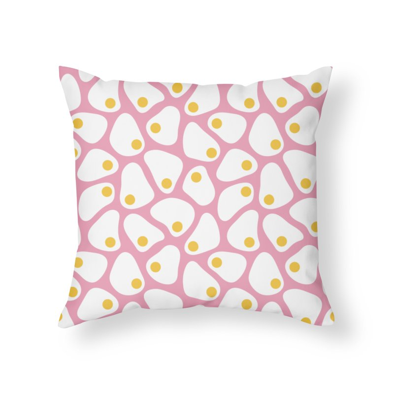 Fried Egg Pattern Home Throw Pillow by abstractocreate's Artist Shop