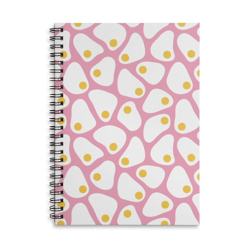Fried Egg Pattern Accessories Lined Spiral Notebook by abstractocreate's Artist Shop