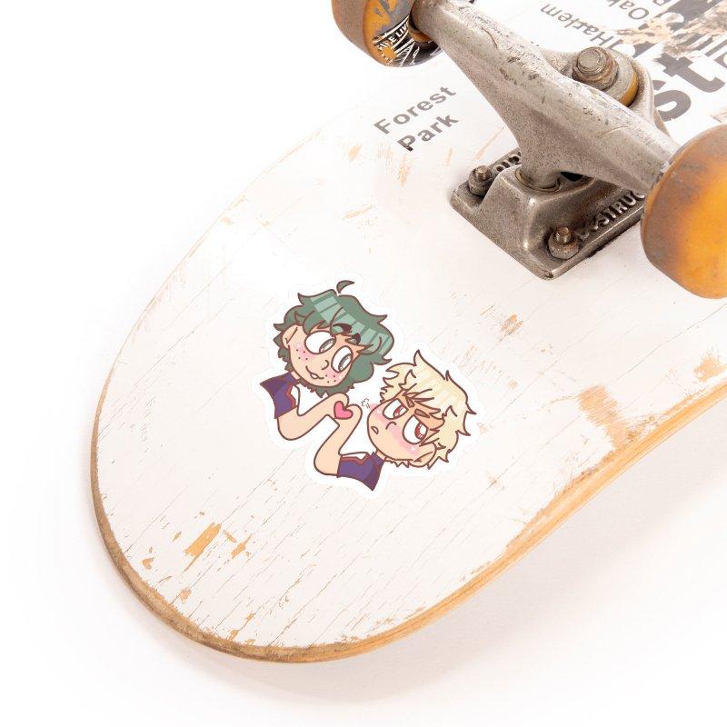 Izuku and Bakugou Heart Hands Accessories Sticker by Redd's Art Shoppe