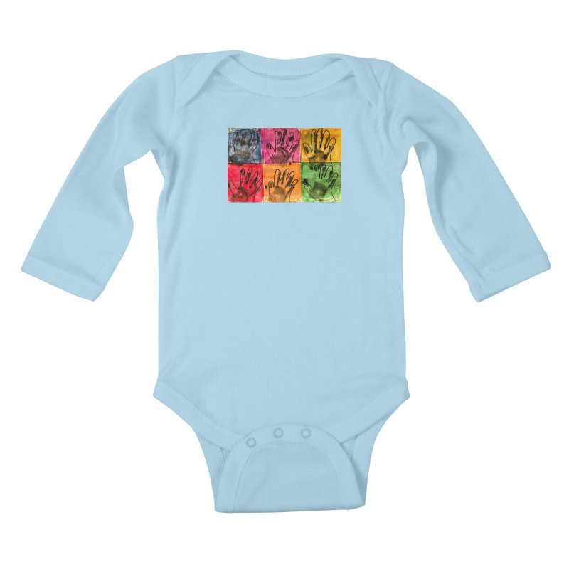 Warhol Hands Kids Baby Longsleeve Bodysuit by Access Art's Youth Artist Shop