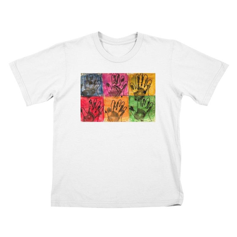 Warhol Hands Kids T-Shirt by Access Art's Youth Artist Shop
