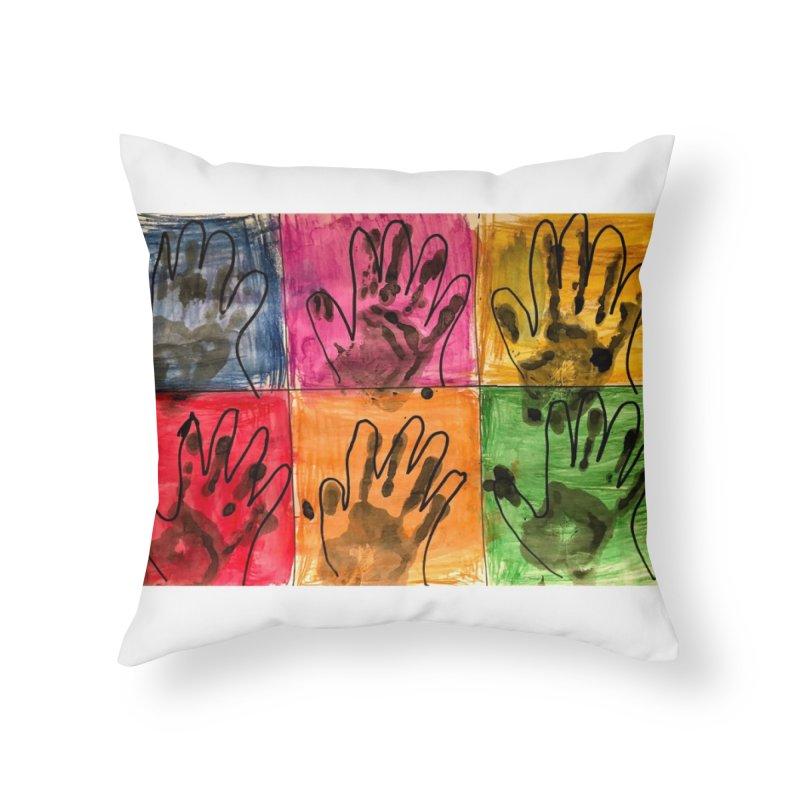 Warhol Hands Home Throw Pillow by Access Art's Youth Artist Shop