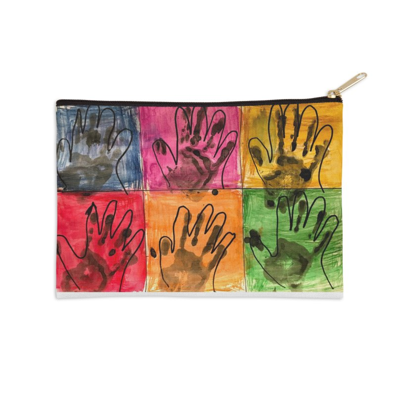 Warhol Hands Accessories Zip Pouch by Access Art's Youth Artist Shop