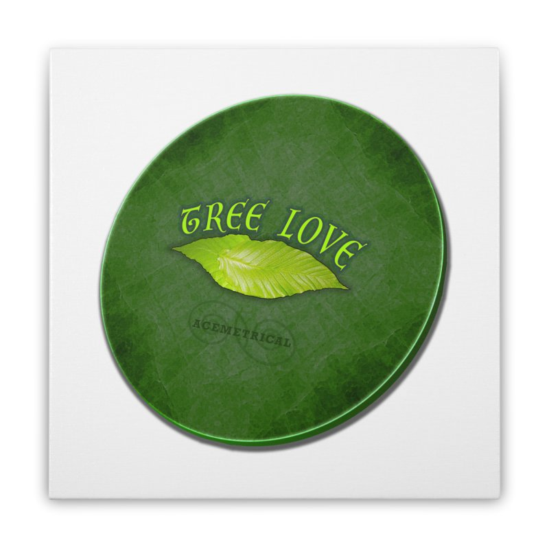 Tree Love ( / ) Green Leaf Lips Home Stretched Canvas by ACEMETRICAL ( / ) Disc Golf