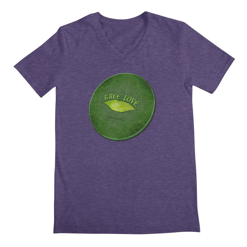 Tree Love ( / ) Green Leaf Lips Men's Regular V-Neck by ACEMETRICAL ( / ) Disc Golf