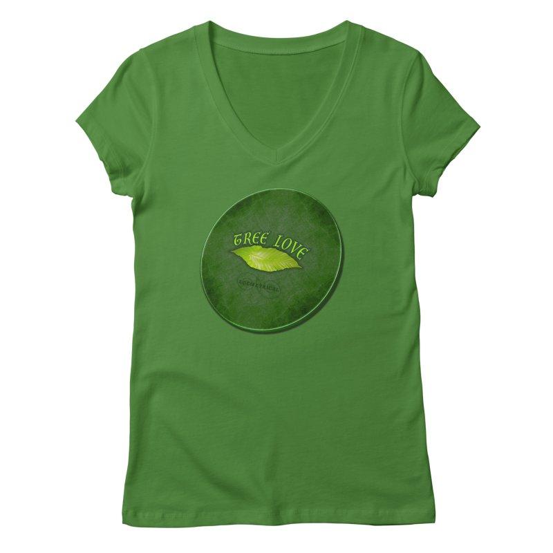Tree Love ( / ) Green Leaf Lips Women's V-Neck by ACEMETRICAL ( / ) Disc Golf