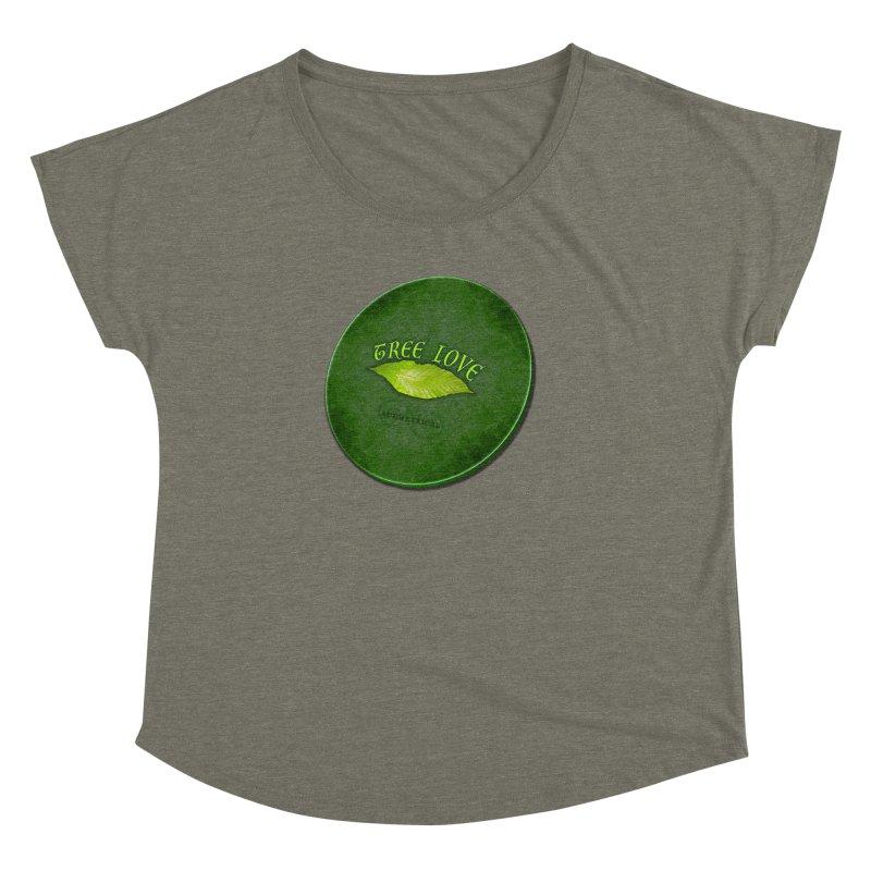 Tree Love ( / ) Green Leaf Lips Women's Dolman Scoop Neck by ACEMETRICAL ( / ) Disc Golf