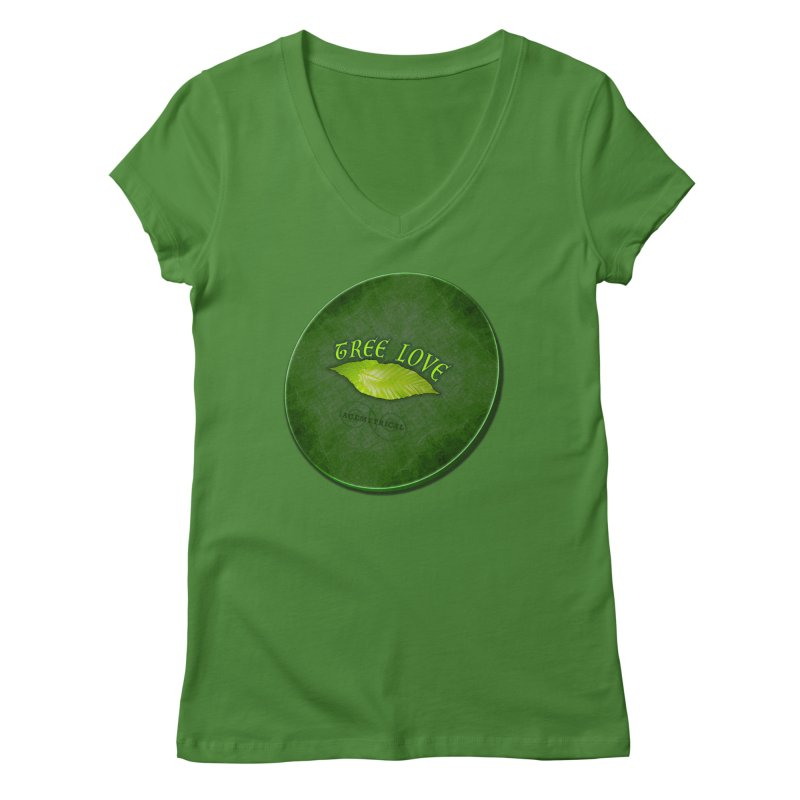 Tree Love ( / ) Green Leaf Lips Women's V-Neck by ACEMETRICAL ( / ) Disc Golf