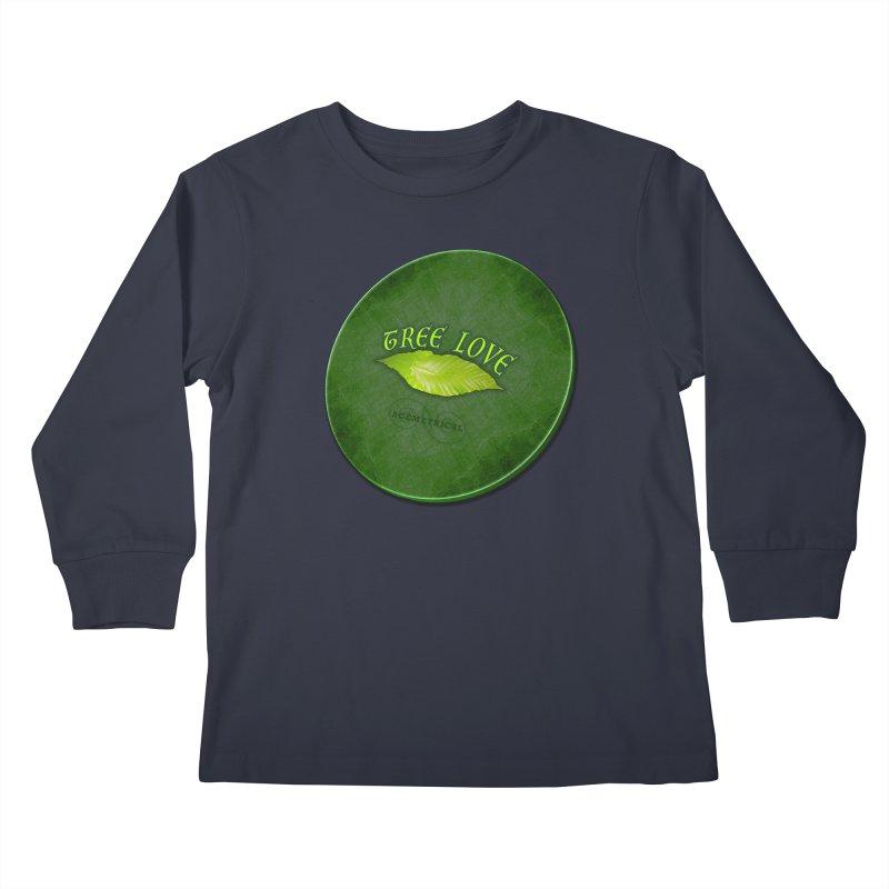 Tree Love ( / ) Green Leaf Lips Kids Longsleeve T-Shirt by ACEMETRICAL ( / ) Disc Golf