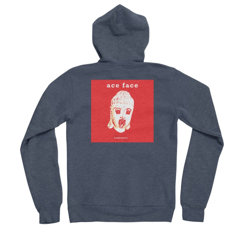 ACE FACE Buddha [REAL RED] ( / ) ACEMETRICAL Men's Sponge Fleece Zip-Up Hoody by ACEMETRICAL ( / ) Disc Golf