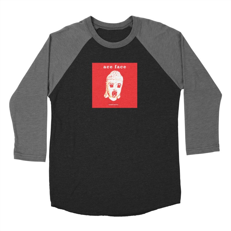 ACE FACE Buddha [REAL RED] ( / ) ACEMETRICAL Women's Baseball Triblend Longsleeve T-Shirt by ACEMETRICAL ( / ) Disc Golf