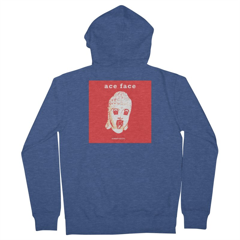 ACE FACE Buddha [REAL RED] ( / ) ACEMETRICAL Women's French Terry Zip-Up Hoody by ACEMETRICAL ( / ) Disc Golf
