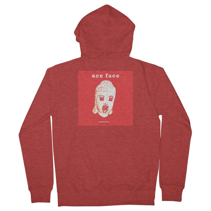 ACE FACE Buddha [REAL RED] ( / ) ACEMETRICAL Men's French Terry Zip-Up Hoody by ACEMETRICAL ( / ) Disc Golf
