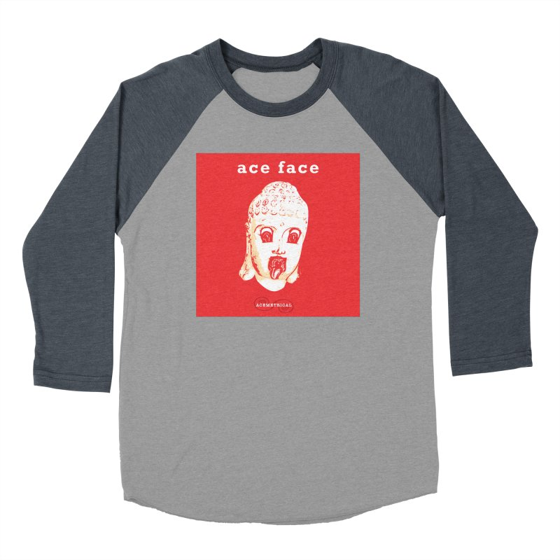 ACE FACE Buddha [REAL RED] ( / ) ACEMETRICAL Women's Baseball Triblend Longsleeve T-Shirt by ACEMETRICAL ( / ) Disc Golf