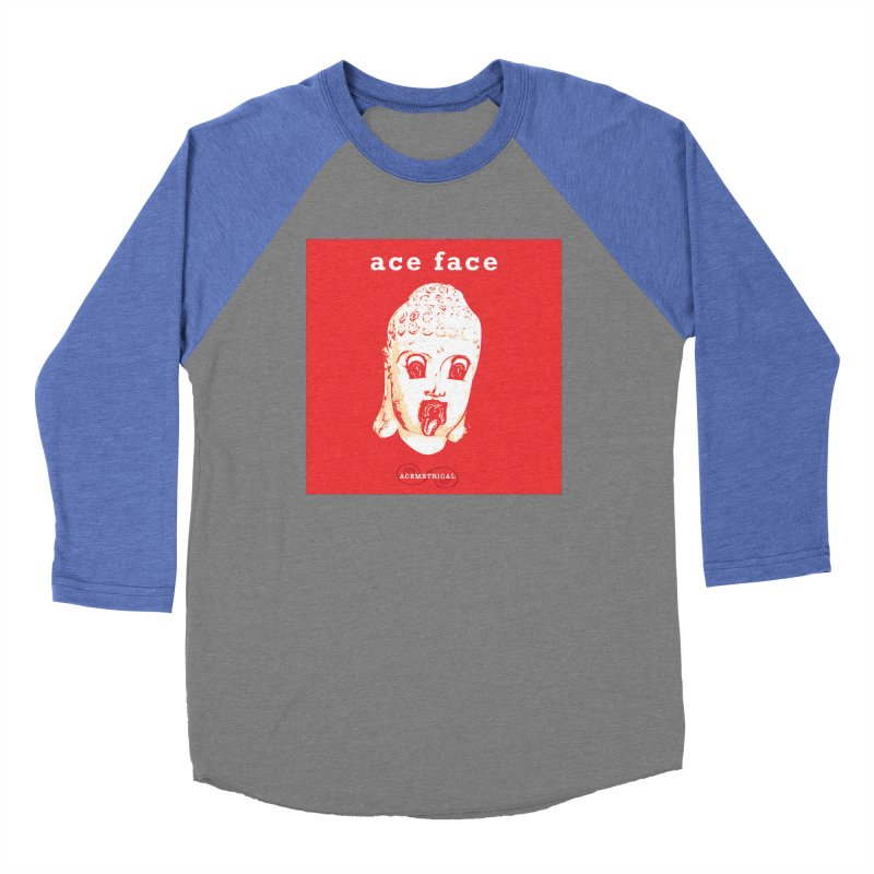 ACE FACE Buddha [REAL RED] ( / ) ACEMETRICAL Men's Baseball Triblend Longsleeve T-Shirt by ACEMETRICAL ( / ) Disc Golf